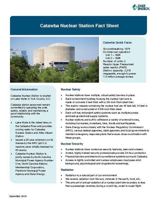 Catawba Nuclear Station Fact Sheet - 2019