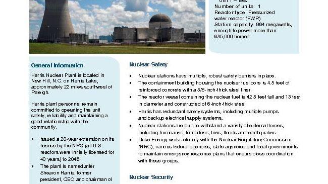 Harris Nuclear Plant Fact Sheet - 2019