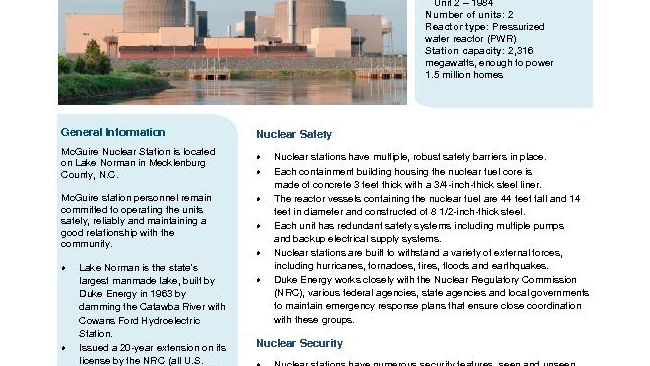 McGuire Nuclear Plant Fact Sheet - 2019
