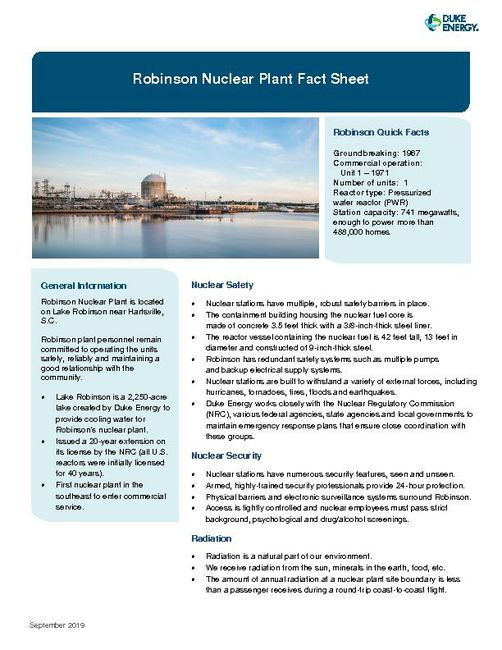 Robinson Nuclear Plant Fact Sheet - 2019