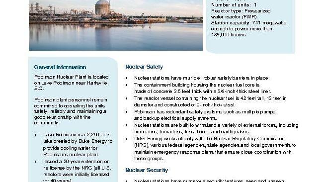 Robinson Nuclear Plant Fact Sheet - 2019