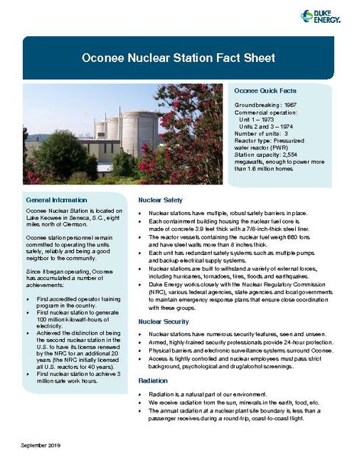 Oconee Nuclear Station Fact Sheet - 2019