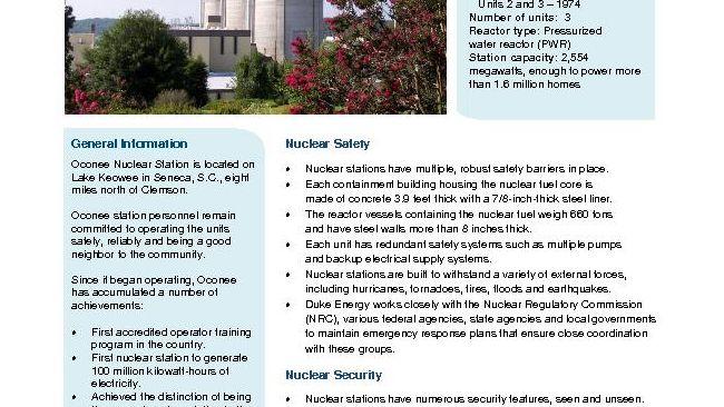 Oconee Nuclear Station Fact Sheet - 2019