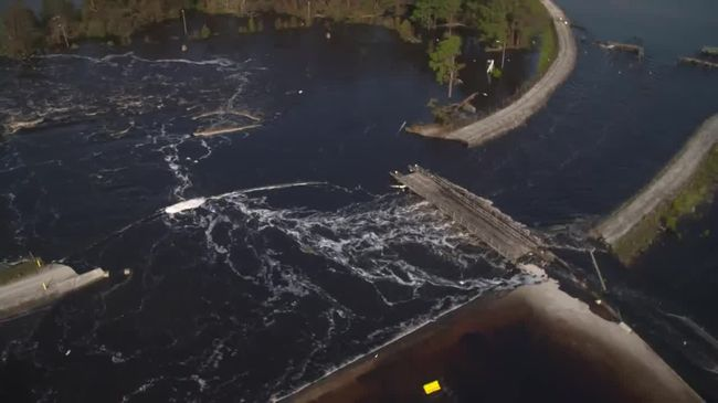 Sutton cooling lake breach flows into Cape Fear River 1