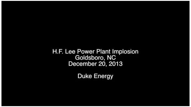 H.F. Lee Power Plant Smokestack Implosion - Dec. 2013