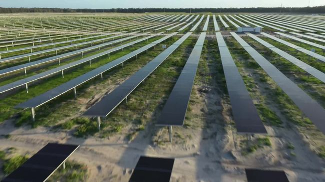 Duke Energy's Columbia Solar Power Plant in Fort White, Florida – aerial view from drone (Feb. 24, 2020)