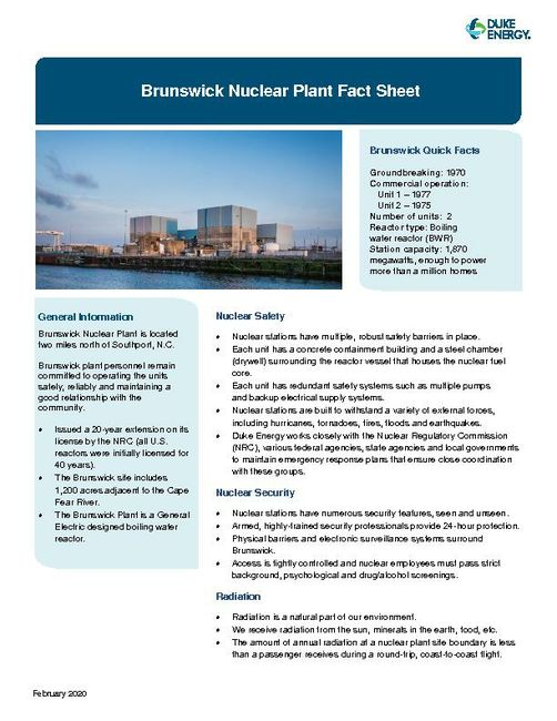 Brunswick Nuclear Plant Fact Sheet - 2020