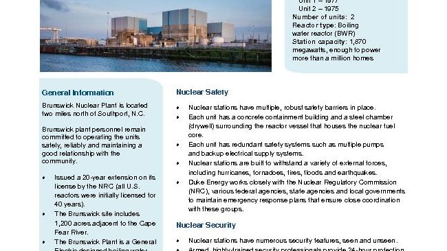Brunswick Nuclear Plant Fact Sheet - 2020