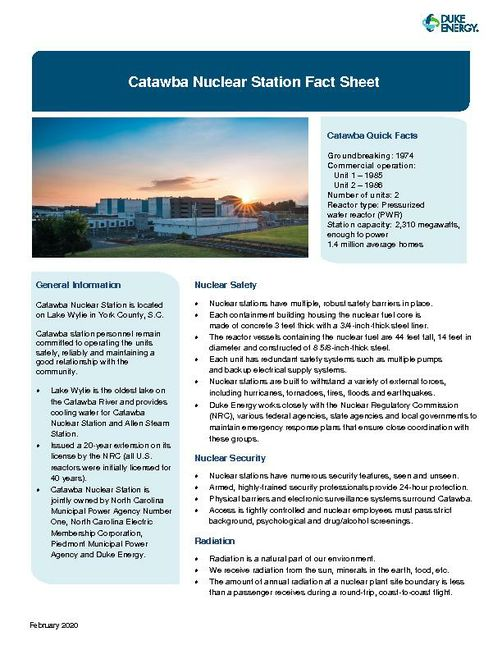 Catawba Nuclear Station Fact Sheet - 2020