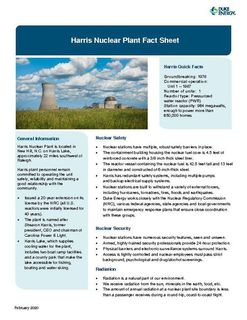Harris Nuclear Plant Fact Sheet - 2020