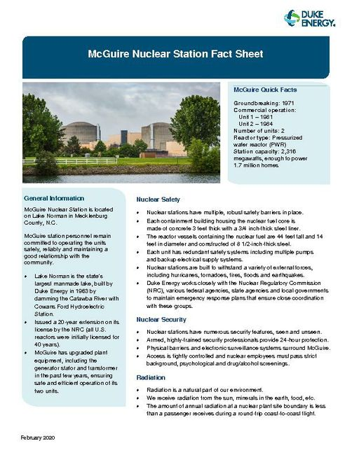 McGuire Nuclear Plant Fact Sheet - 2020