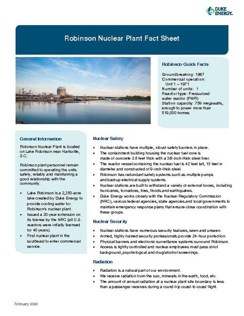 Robinson Nuclear Plant Fact Sheet - 2020
