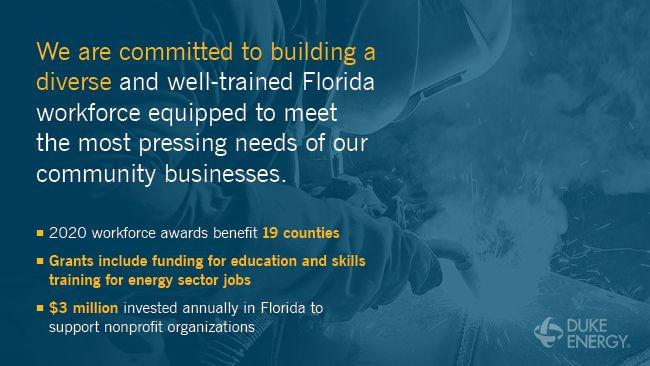 Duke Energy Florida awards $655,000 in workforce grants to help job seekers and students skill up for employment