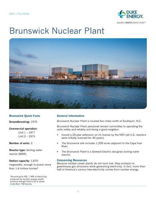 Brunswick Nuclear Plant Fact Sheet - 2021