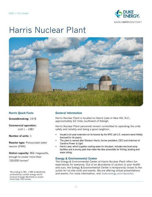Harris Nuclear Plant Fact Sheet - 2021