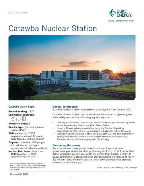Catawba Nuclear Station Fact Sheet - 2021