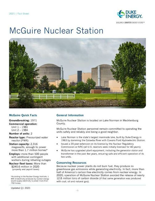 McGuire Nuclear Plant Fact Sheet - 2021