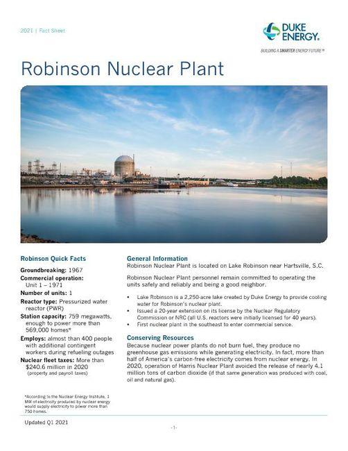 Robinson Nuclear Plant Fact Sheet - 2021