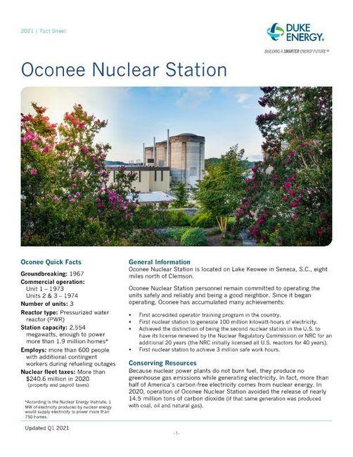 Oconee Nuclear Station Fact Sheet - 2021