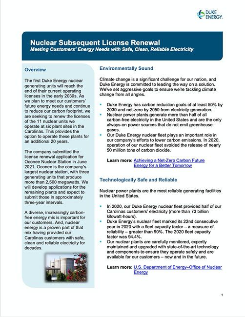 Nuclear Subsequent License Renewal Fact Sheet 2021