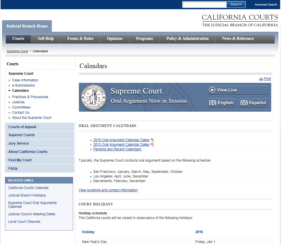 Supreme Court Webcast Calendar Page Button