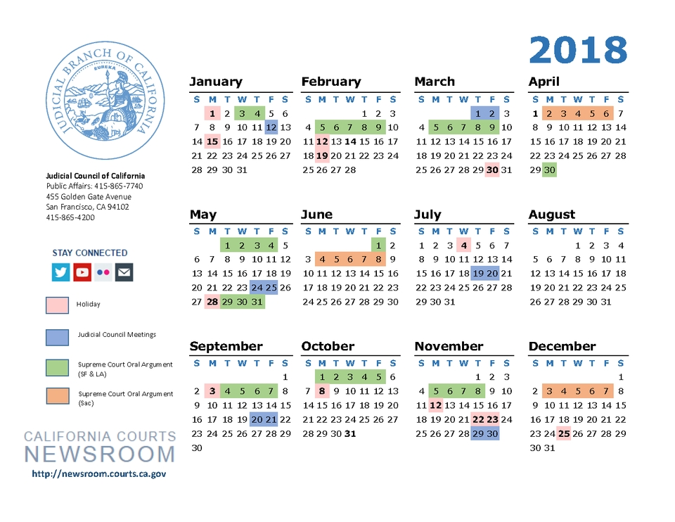 2018 California Courts Calendar | California Courts Newsroom