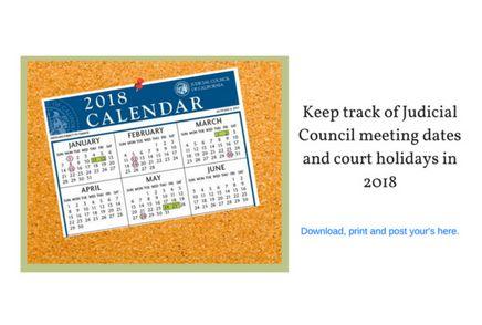 Judicial Council Calendar 2018