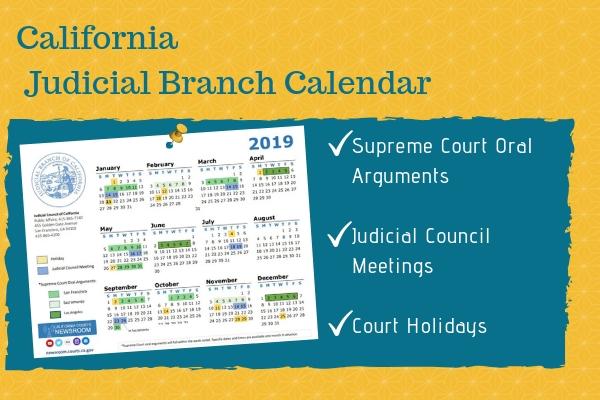 2019 California Judicial Branch Calendar