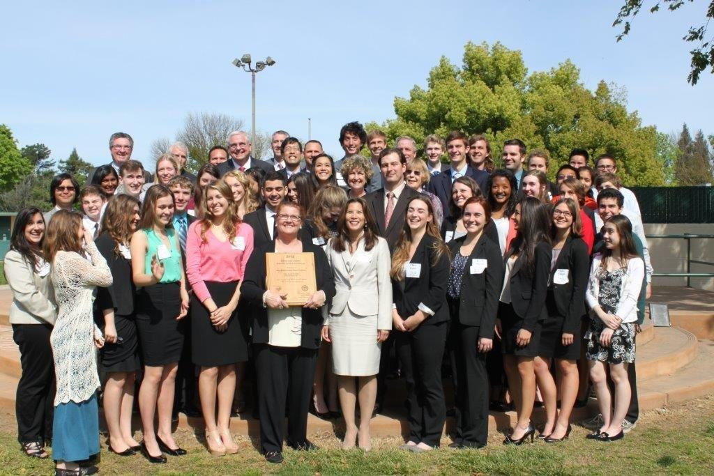 Chief Justice with students from Rio Americano CIVITAS
