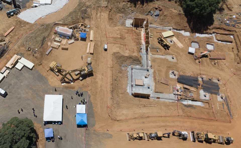 Tuolumne County Courthouse Groundbreaking in Sonora - aerial view of construction site