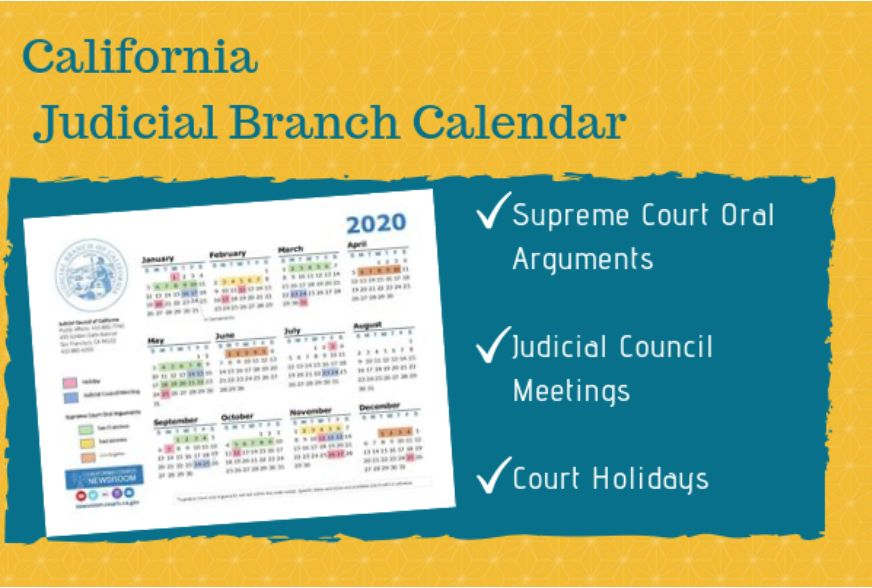 2020 California Courts Calendar 10-4-19