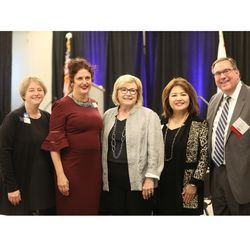 (L-R) Ellen Miller, California Lawyers Associate President Heather Rosing,  Justice Judith McConnell,  Jerrilyn Malana, and Erik Silber