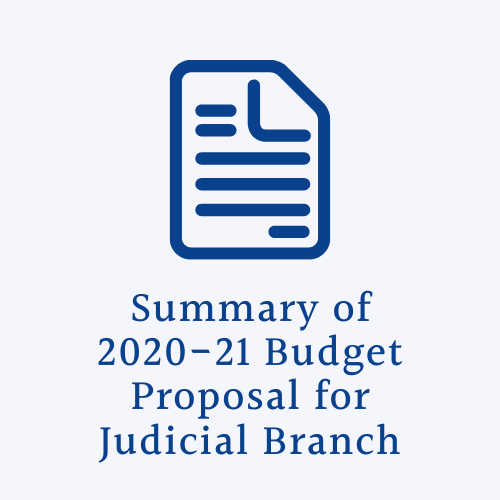 Document icon with text Summary of Judicial branch budget proposal for 2020-2021