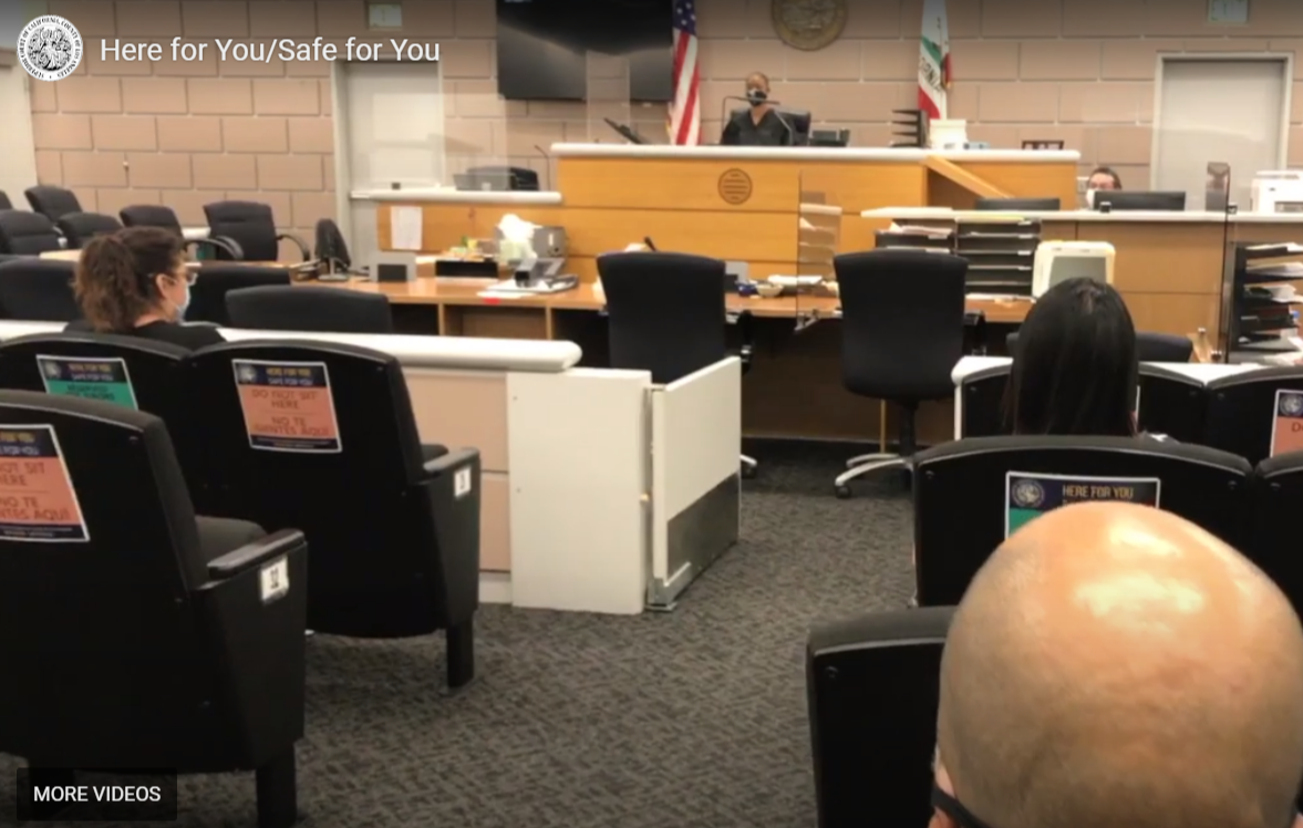 Thumbnail image of social distancing in the courtroom