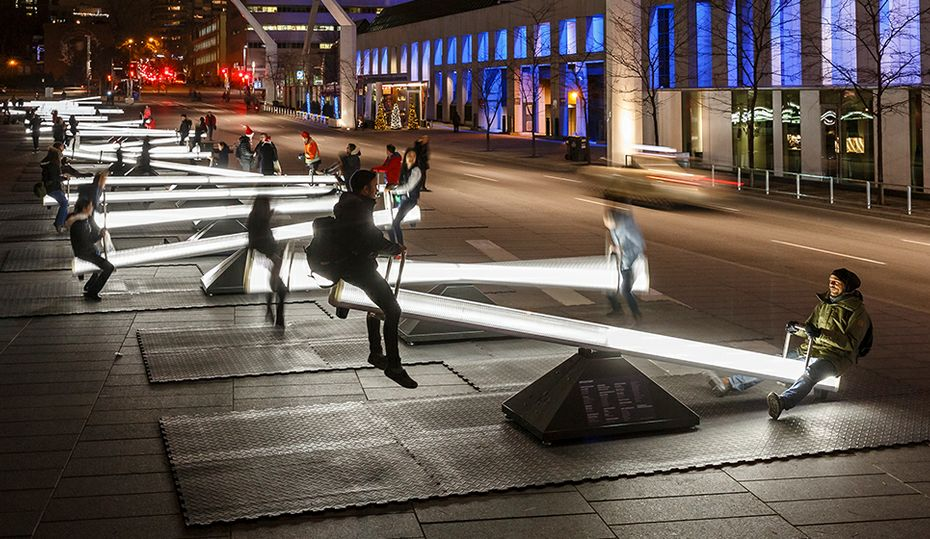 Light up the night on these seesaws