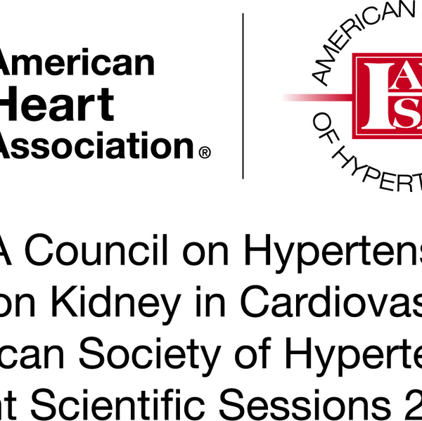 American Heart Association Heart and Torch logo next to the American Society of Hypertension logo for the AHA Council on Hypertension, AHA Council on Kidney in Cardiovascular Disease and the American Society of Hypertension Joint Scientific Sessions