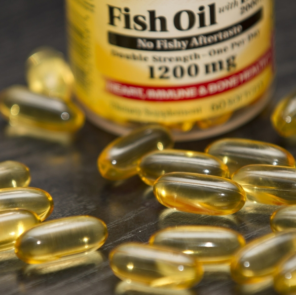 Fish oil tabs and bottle