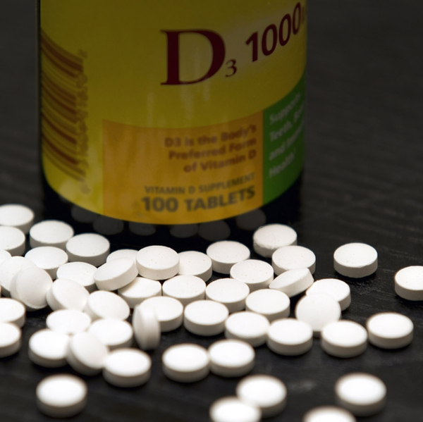 Vitamin D tablets and Bottle