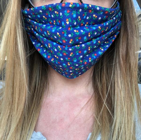 Woman wearing a homemade mask