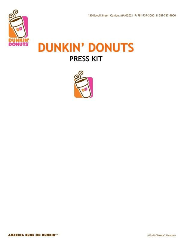 Dunkin Donuts Press Kit - September 2015
