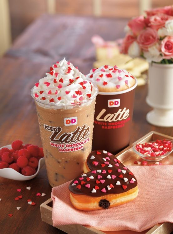 hearts set on valentine's day at dunkin' donuts with heart-shaped, Ideas