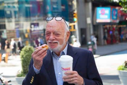 "Dunkin' Donuts Unveils New Digital Billboard in Times Square with Help of Broadway Producer and Director Harold ""Hal"" Prince"