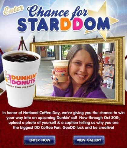 In honor of National Coffee Day, Dunkin' Donuts Launches the Chance for StarDDom Contest