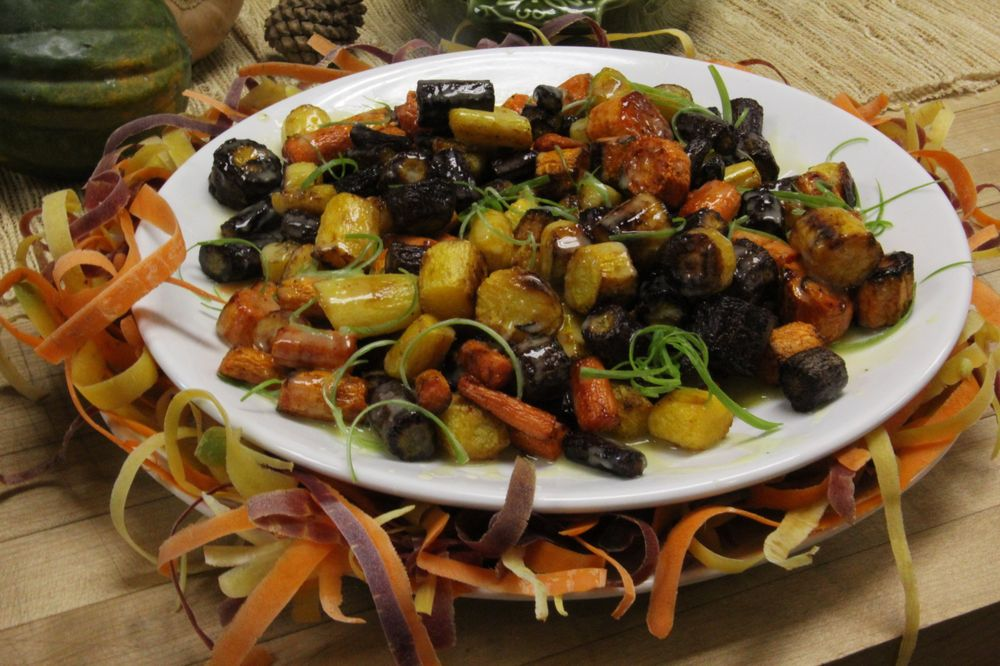 Dunksgiving Sides: Dark Roast Coffee Marinated Brussels Sprouts and Roasted Carrots with Harmony Leaf Green™ Tea Miso Butter