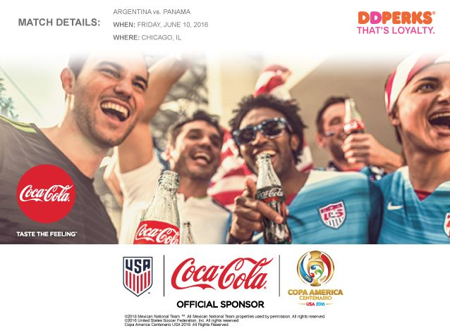 Dunkin' Donuts And Coca-Cola Team Up To Offer New DD Perks® Members  Tickets To COPA America Centenario
