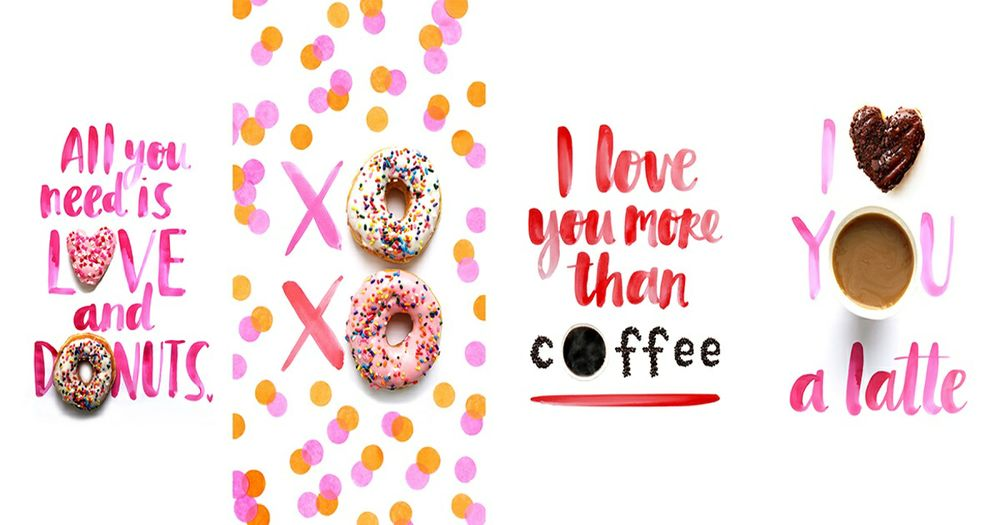 Valentine's Day Themed Mobile Wallpapers from Dunkin' Donuts