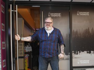 Kristian Nairn Welcomes Winter At Dunkin'