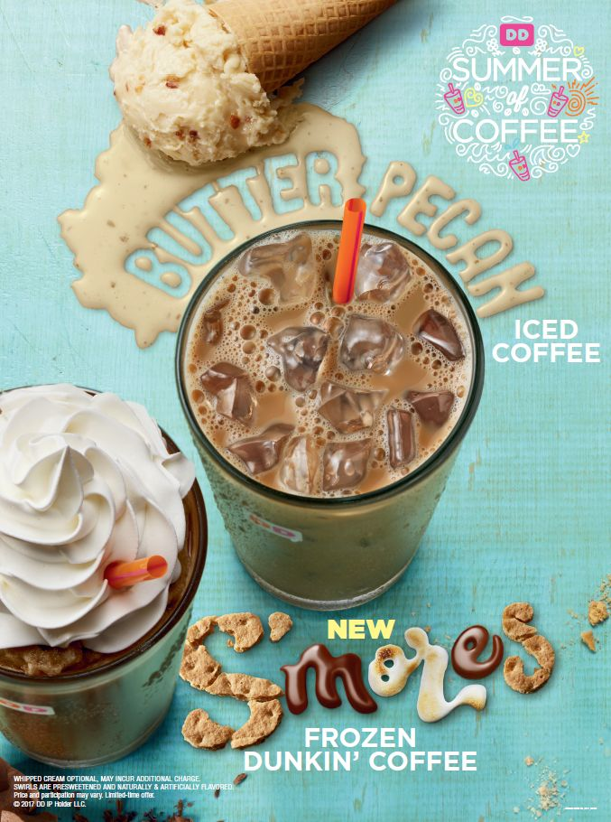 Butter Pecan Iced Coffee & S'mores Frozen Dunkin' Coffee