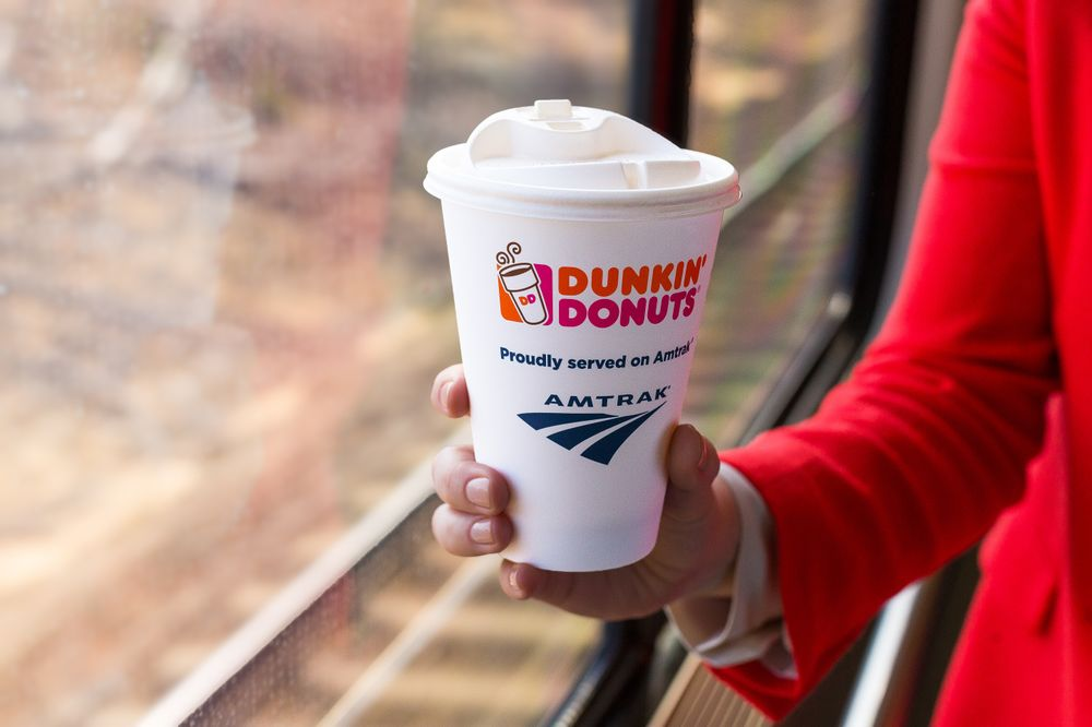 Dunkin' Donuts Hot Coffee Is Now Being Served Onboard Amtrak Northeast Regional Trains