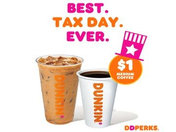Relieve Tax Day Tension with $1 Medium Hot or Iced Coffee from Dunkin'